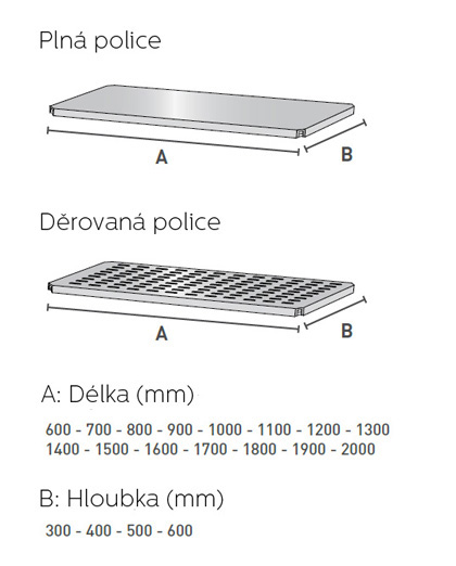 Plná děrovaná police regálu IN-FIX INOX PLUS
